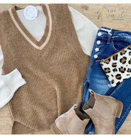 Almond Contrasted Sweater Vest