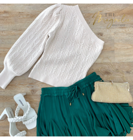 Sand Sweater One Shoulder Top