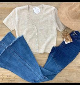 Oatmeal Short Sleeve Sweater Cardigan