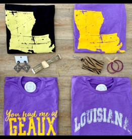 Louisiana Distressed Purple Tee