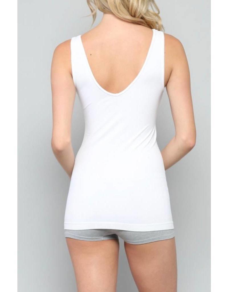 952a75181f5871 U V Neck Tank Top - White OS - Ramsey Rae Boutique