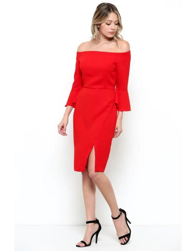 954afc8ce26 Red Off Shoulder Bell Sleeve Dress - Ramsey Rae Boutique