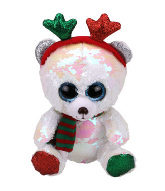 TY Mistletoe, Bear with Antlers (Flippable)