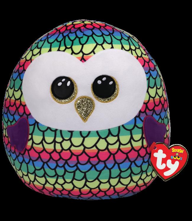 "TY Owen - Owl Rainbow Squish 12"""