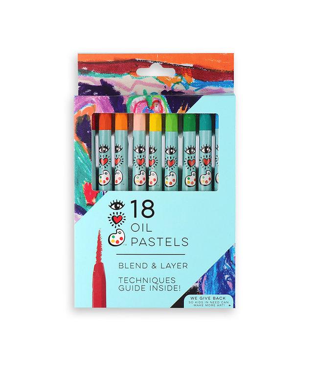 Bright Stripes iHeart Art 18 Oil Pastels