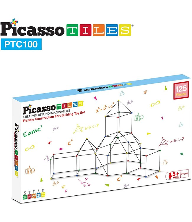 PicassoTiles Picasso Tile 125pc Fort Building Kit