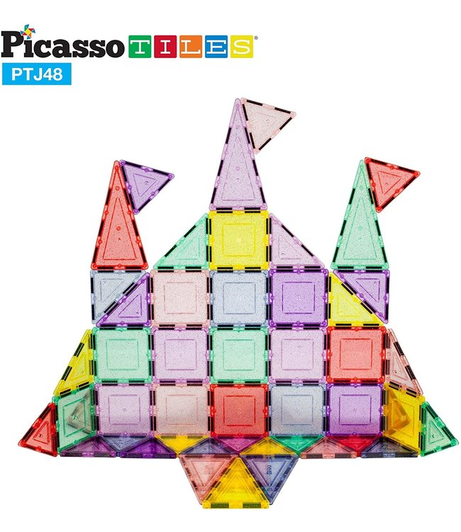 PicassoTiles Picasso Tile 48pc Magnetic Building Tile Block Set