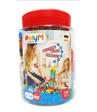 Hape PolyM 128-piece Building Block Set