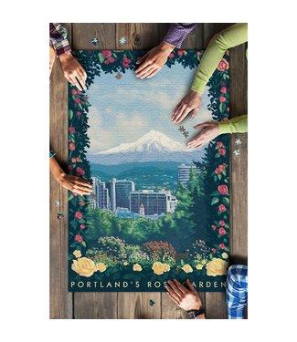 1000 Piece Puzzle - Portland, Oregon Rose Garden Artwork