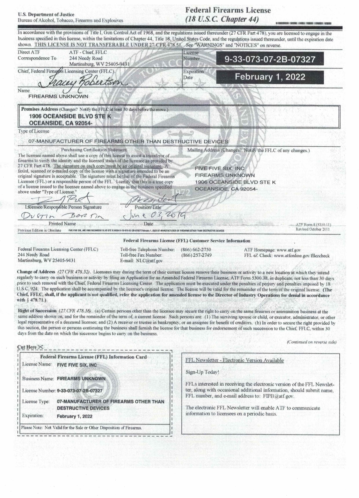 Oceanside's Federal Firearm License