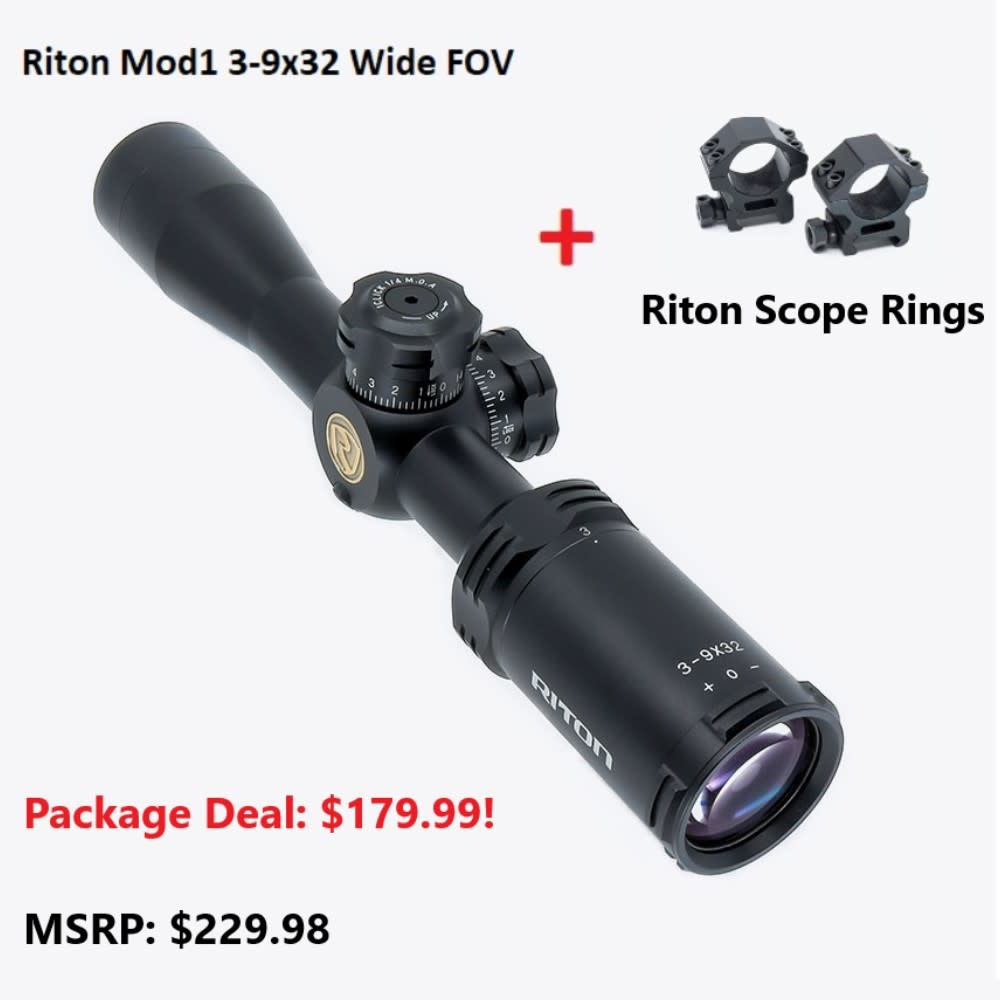 Riton RT-S Mod 1 3-9x32 Wide FOV w/ MED Rings