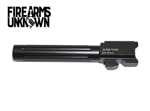 AlphaWolf Barrel, 9MM, Salt Bath Nitride Coated, Fluted, 416R Stainless Steel, Conversion to 9mm Stock Length, For Glk 22/31