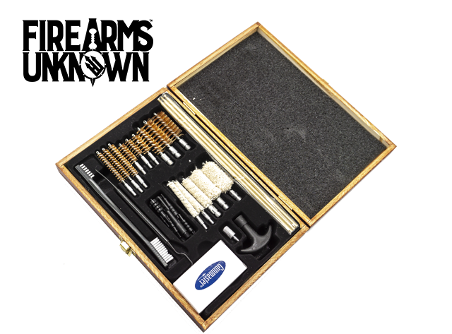 DAC GUN CLEANING KIT UNIVERSAL 22LR AND LARGER 30/PC WOODEN CASE