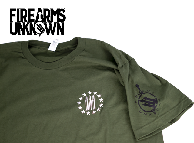 Firearms Unknown FU 3% Front / Flag Back T-Shirt Green