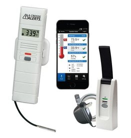 La Crosse La Crosse Alerts Remote Temperature & Humidity Monitoring System w/ 6 ft Detachable Wet Temperature Probe