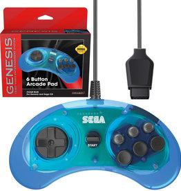 Sega Genesis Genesis 6 Button Controller Clear Blue (RetroBit)