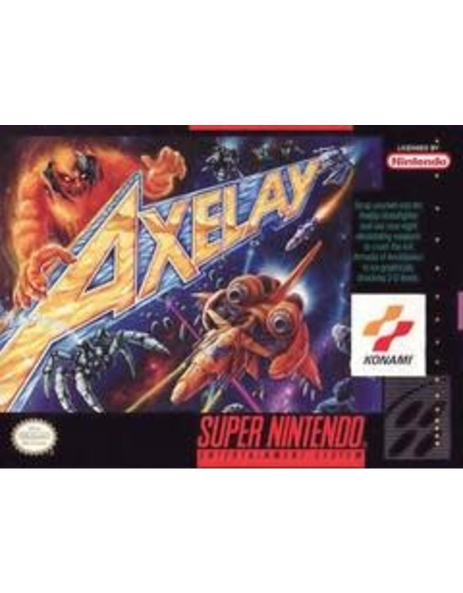 Super Nintendo Axelay (Cart Only, Minor Label Damage, Discoloured Cart Back)