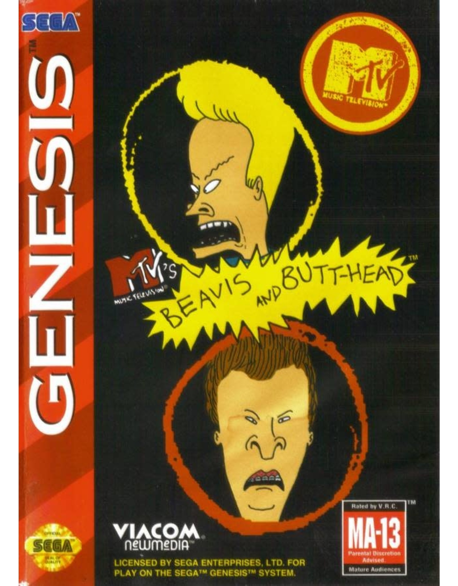 Sega Genesis Beavis and Butthead (Cart Only, Damaged Label)