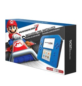 Nintendo 3DS Nintendo 2DS Electric Blue (CiB, Damage on Main Screen, Mismatched Stylus, Mario Kart Cartridge Included)