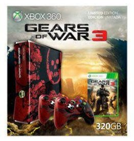 Xbox 360 Xbox 360 Console Gears of Wars 3 Edition (320GB, 2 Controllers, Game Included, CiB, Damaged Box)
