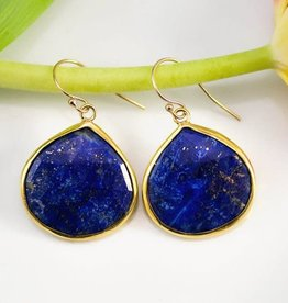 Pendant Earrings - Lapis/Gold