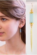 Drop Spike Earrings - Aqua Blue Chalcedony/Gold