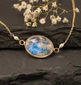 Bezel Set Necklace - Rainbow Moonstone/Gold/16-18''