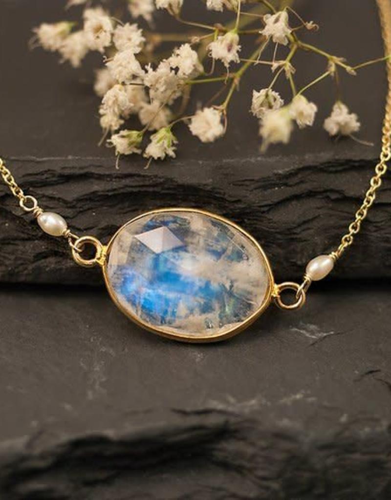 Bezel Set Necklace - Rainbow Moonstone/Gold/16-18''