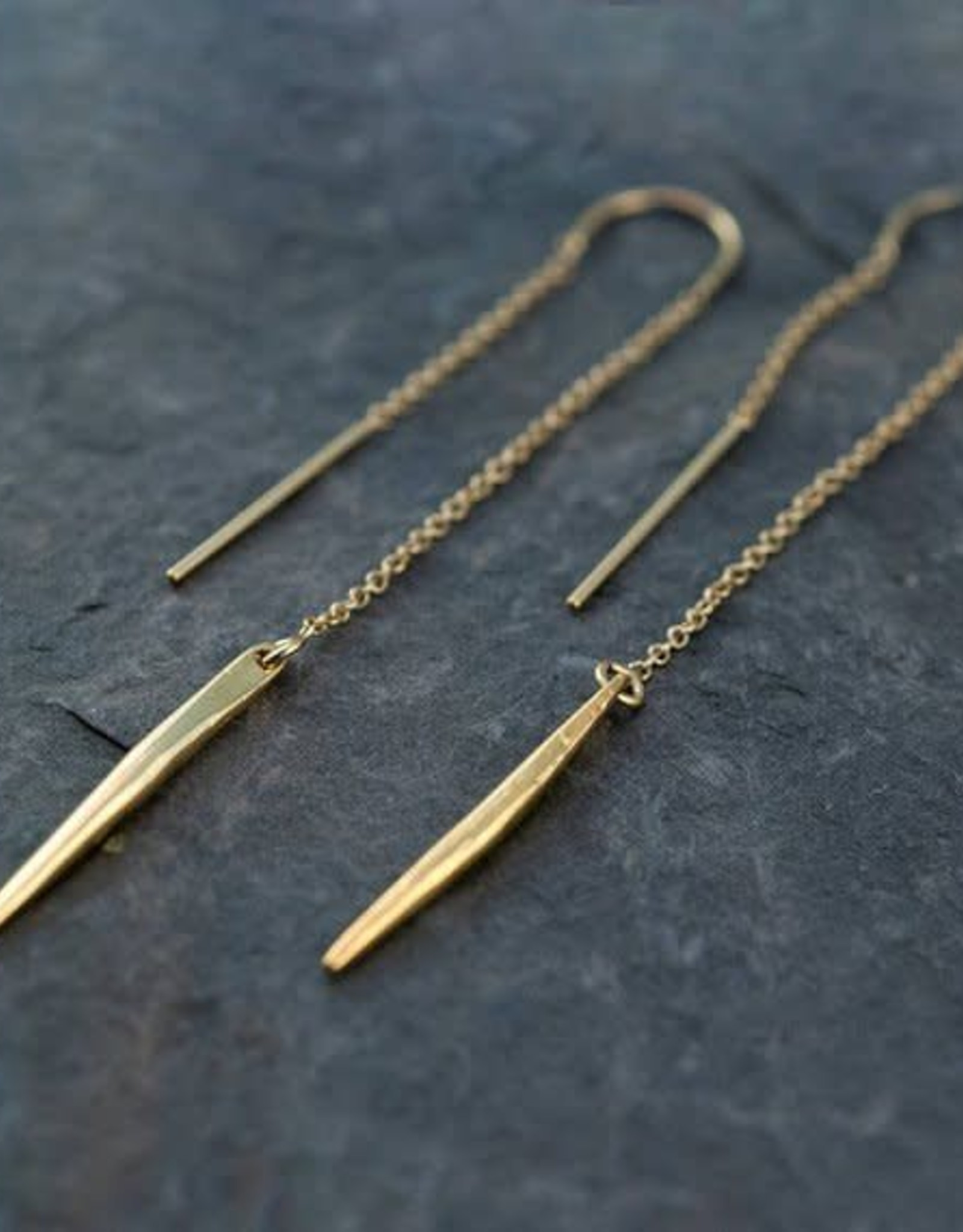 Thread Through Earrings - Lariat/Gold