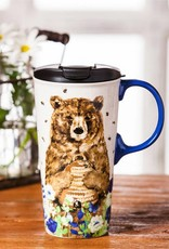 Ceramic Travel Cup - 17 oz - Bear and Flowers
