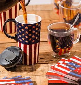Ceramic Travel Cup - 17 oz - Liberty Flag