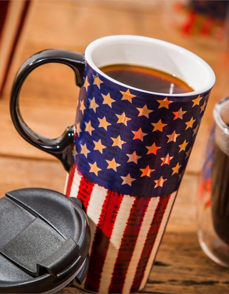 Ceramic Travel Cup - 17 oz - Liberty Flag