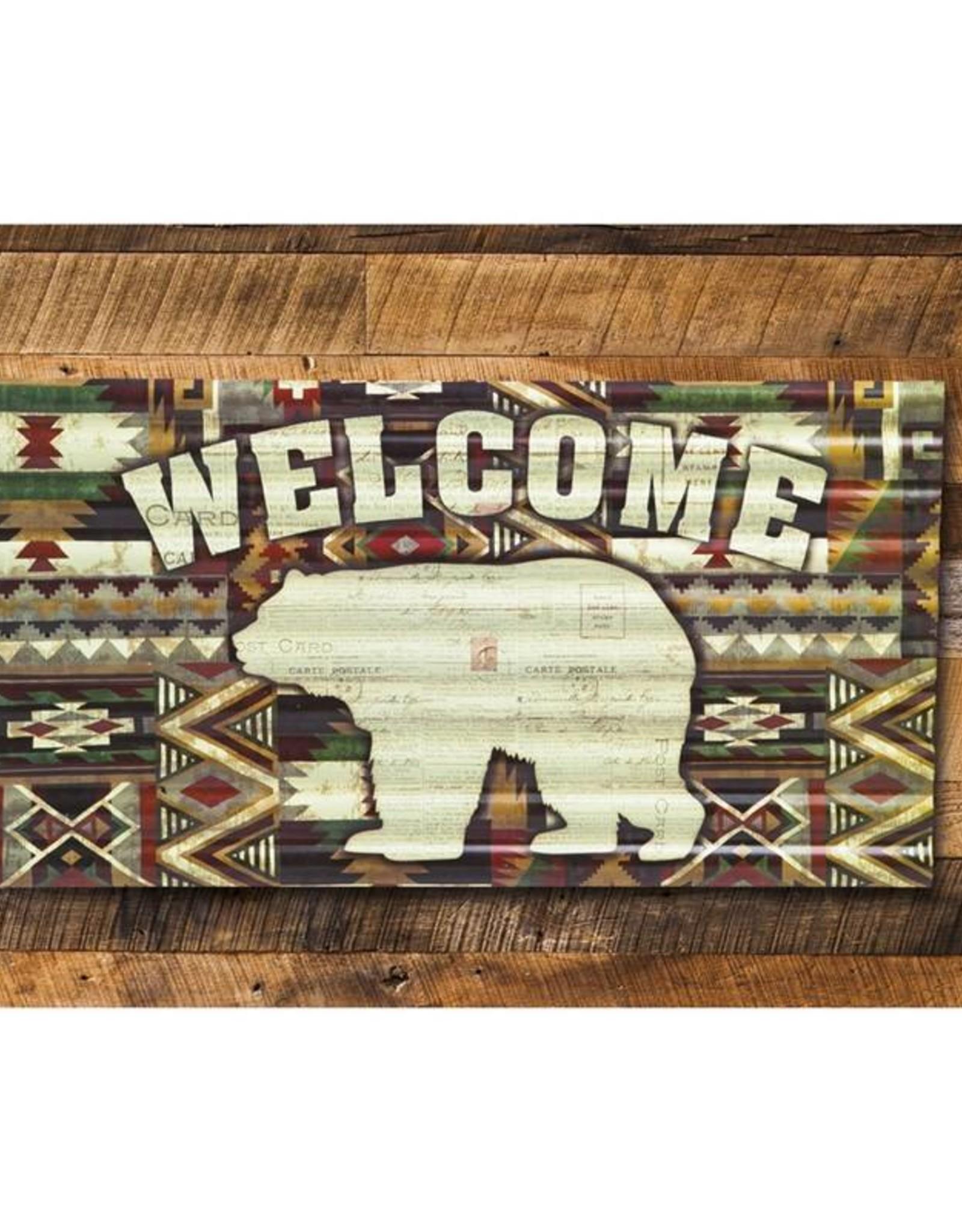 Welcome Bear - Metal Corrugate