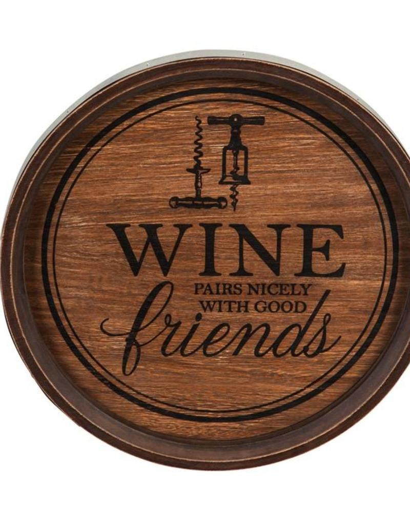 Round Wooden Wine Wall Sign