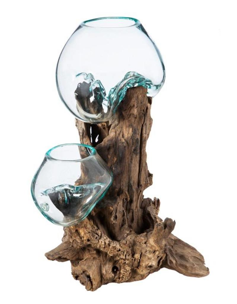 Double Glass Planter on Driftwood