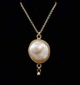 Bezel Necklace - Freshwater Pearl/Gold