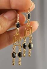 Chandelier Earrings - Sapphire/Gold