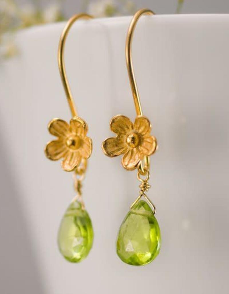 Dangle Earrings - Peridot/Gold