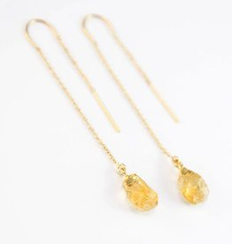 Thread Through Earrings - Citrine/Gold