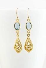 French Hook Earrings - Blue Topaz/Gold/Filigree