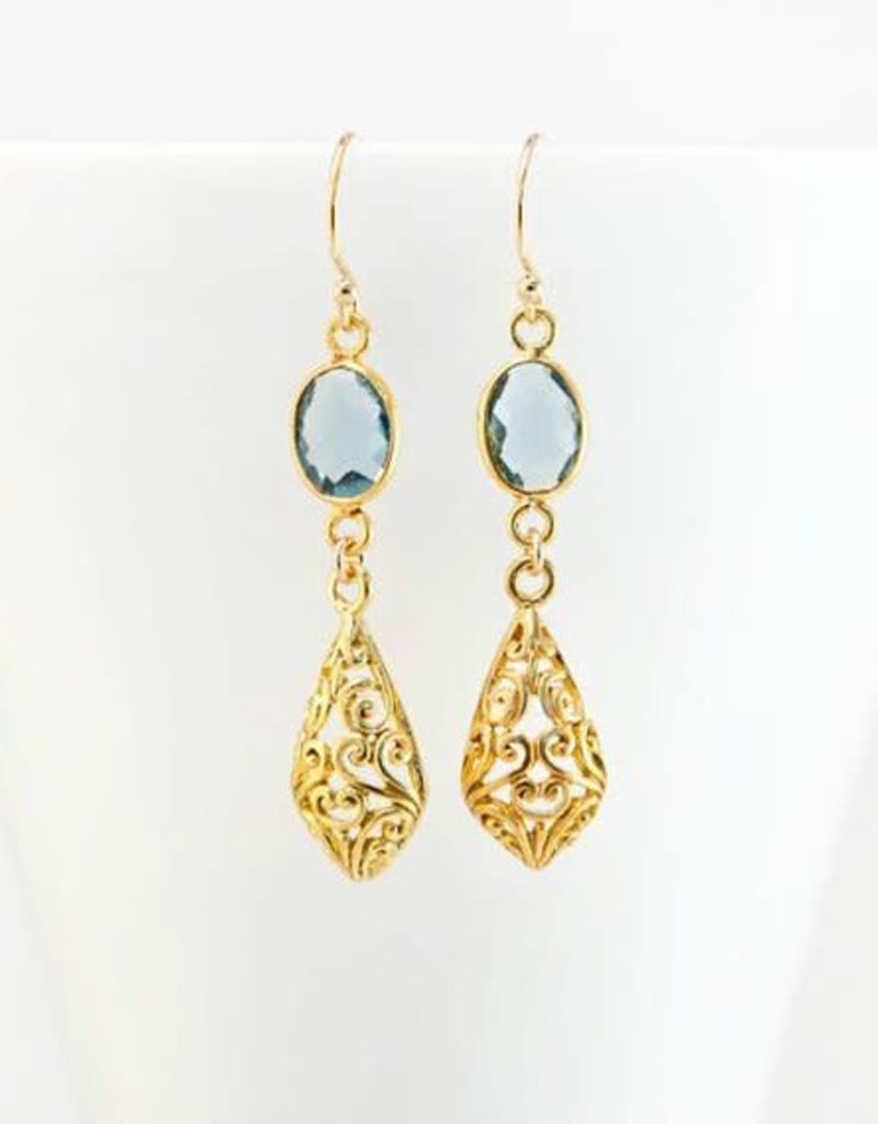Drop Earrings - Blue Topaz/Gold/Filigree