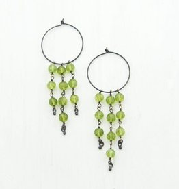 Beaded Earrings - Peridot/Oxidized Silver