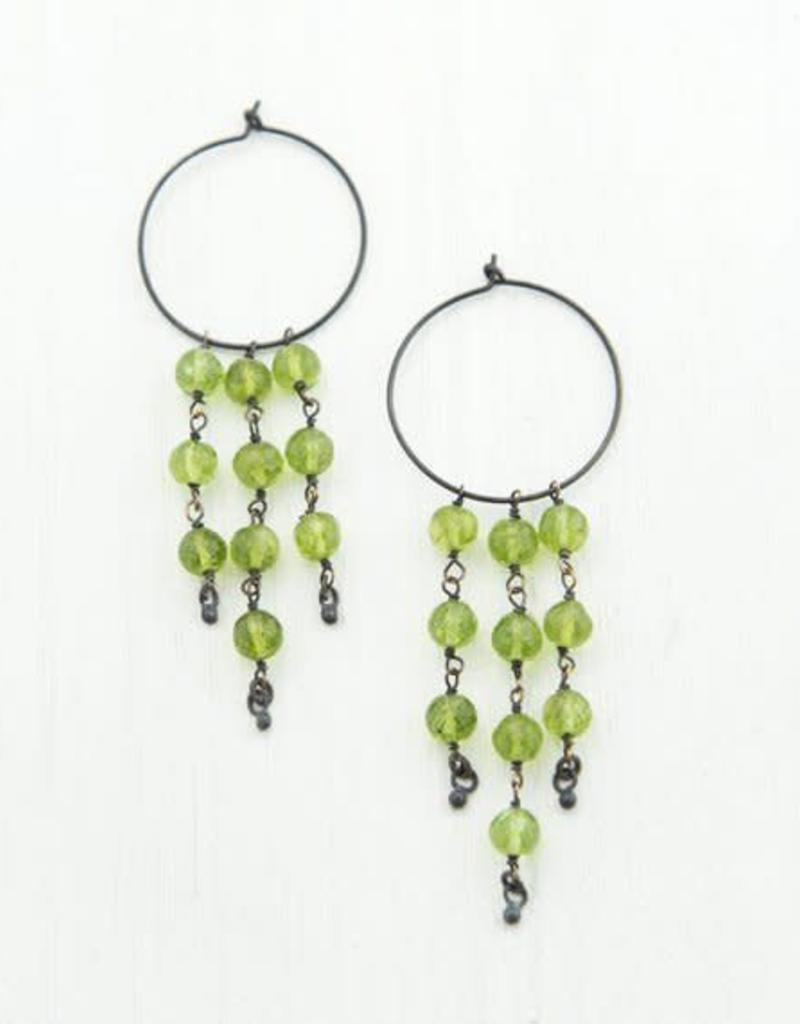 Beaded Earrings - Peridot/Oxidized Silver