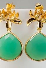 Pendant Earrings - Lotus/Chrysoprase/Gold
