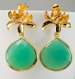 Pendant Earrings - Chrysoprase/Gold/Lotus