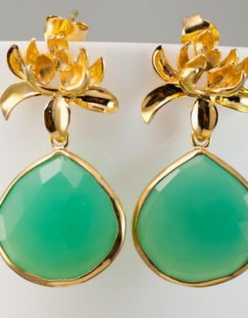 Lotus Earrings - Chrysoprase/Gold