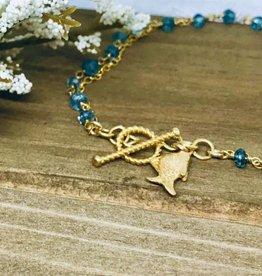 Charm Bracelet - Blue Topaz/Fish
