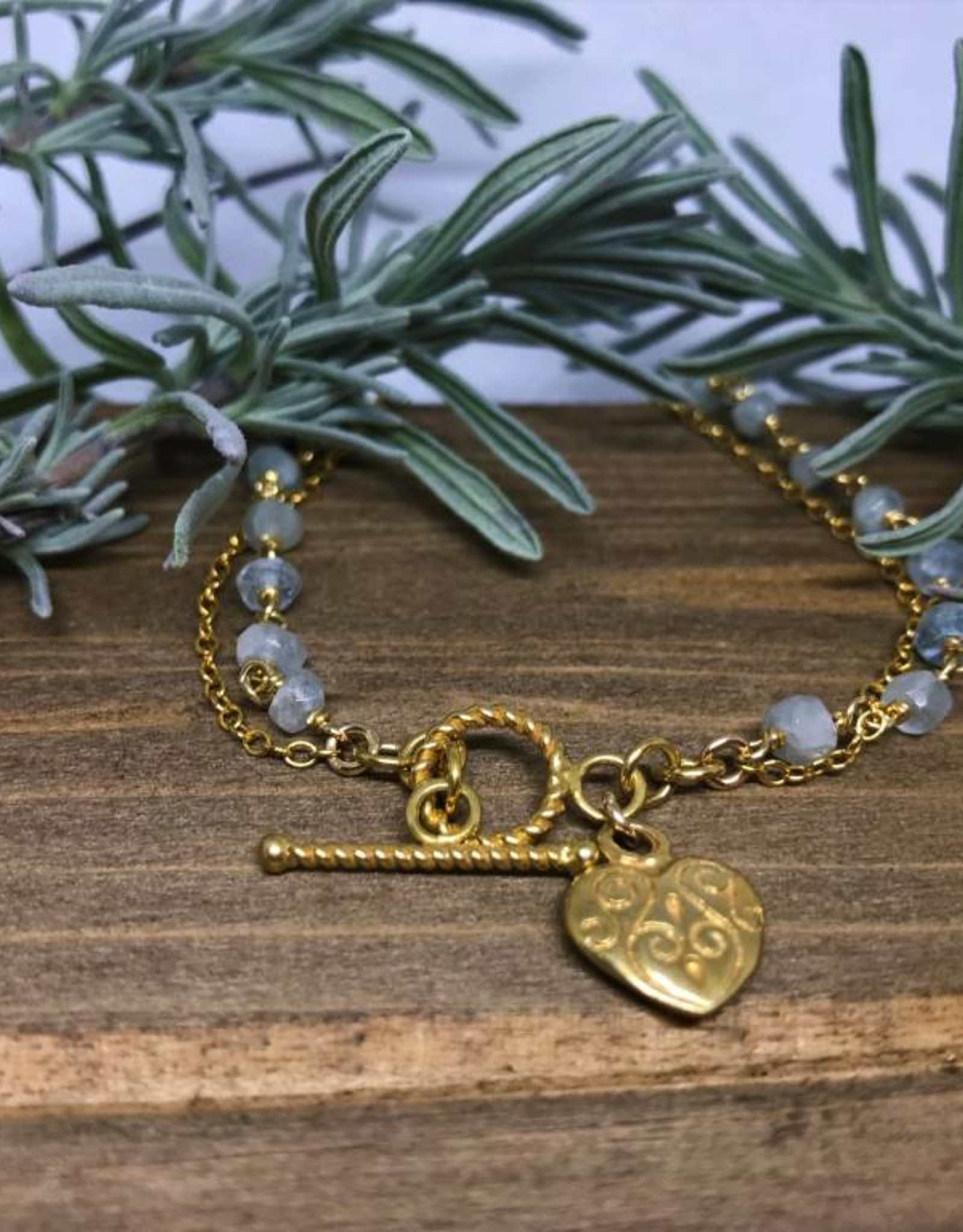 Charm Bracelet - Aquamarine/Heart