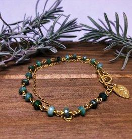 Charm Bracelet - Leaf/Emerald