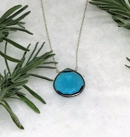 Lg Pendant Necklace - Blue Topaz/Silver